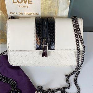 NEW HEIRLOOM White Leather Snake Flap Crossbody